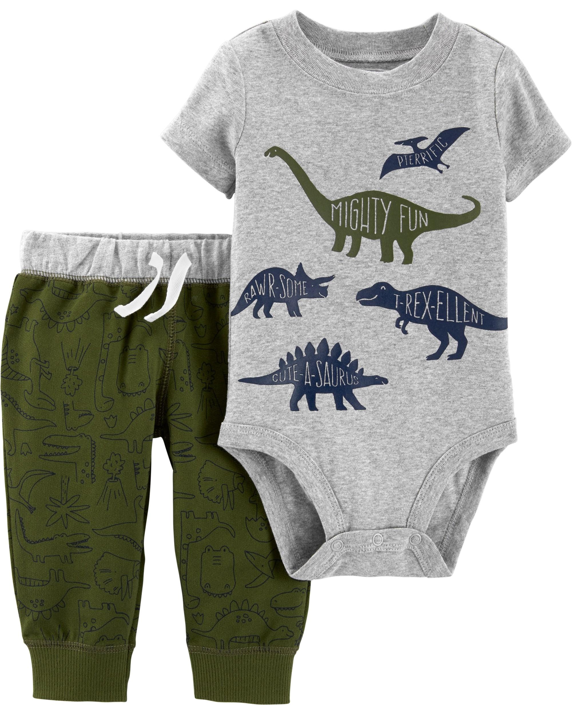 Carter's Set 2 Piese Dinozaur body & pantaloni 100% bumbac
