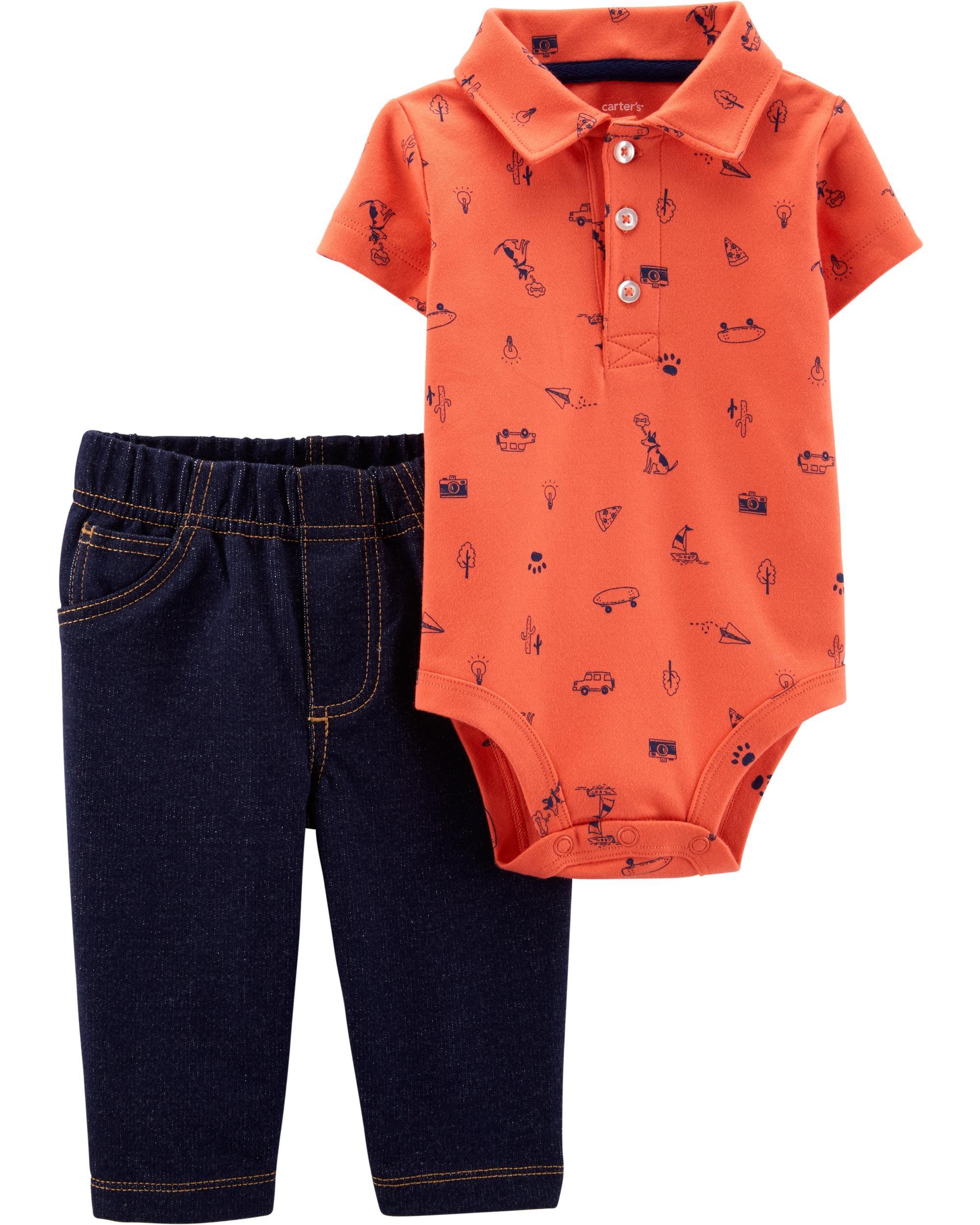 Carter's Set 2 Piese Vacanță pantaloni lungi & body tip cămașă