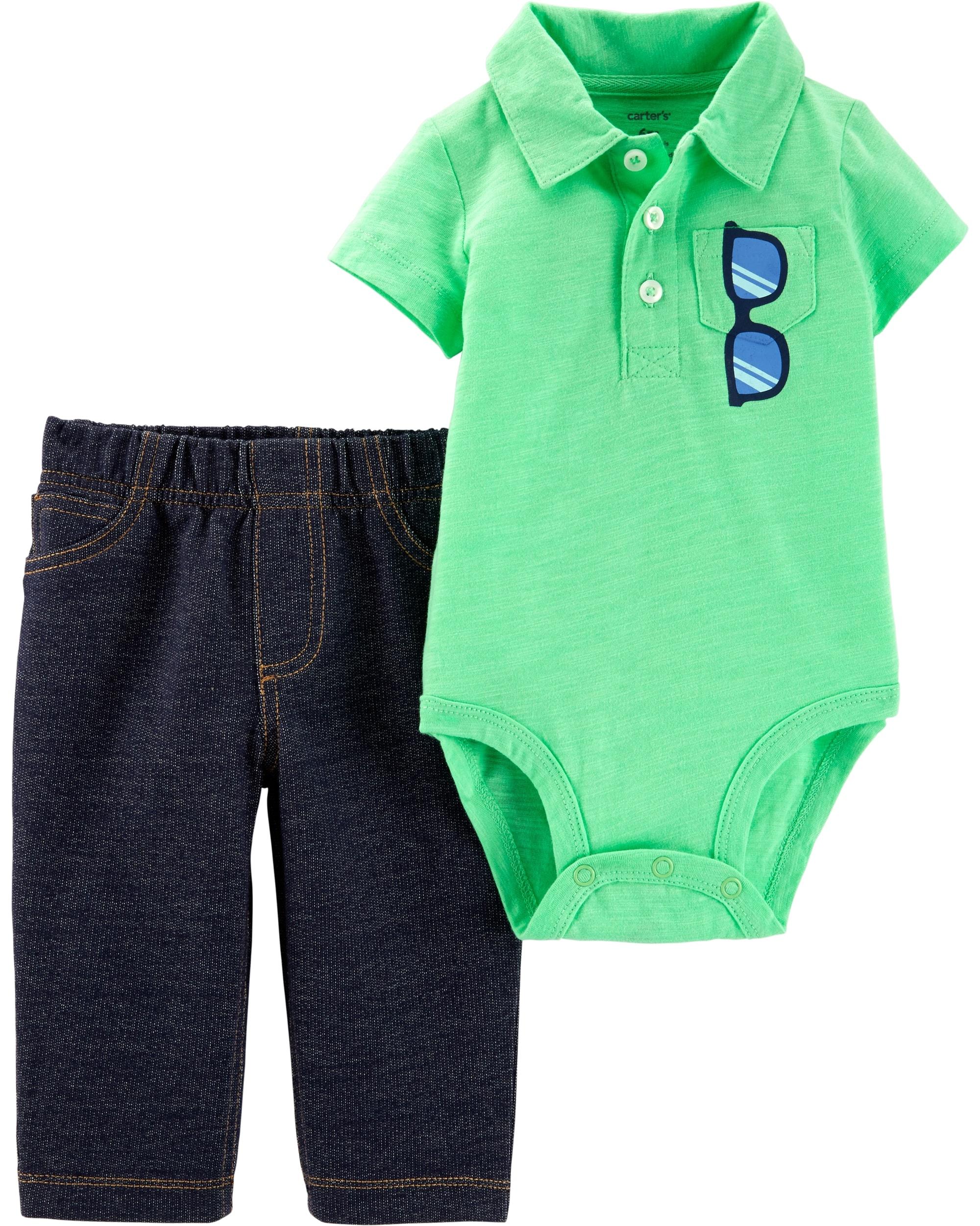 Carter's Set 2 Piese Polo body verde & pantaloni 100% bumbac