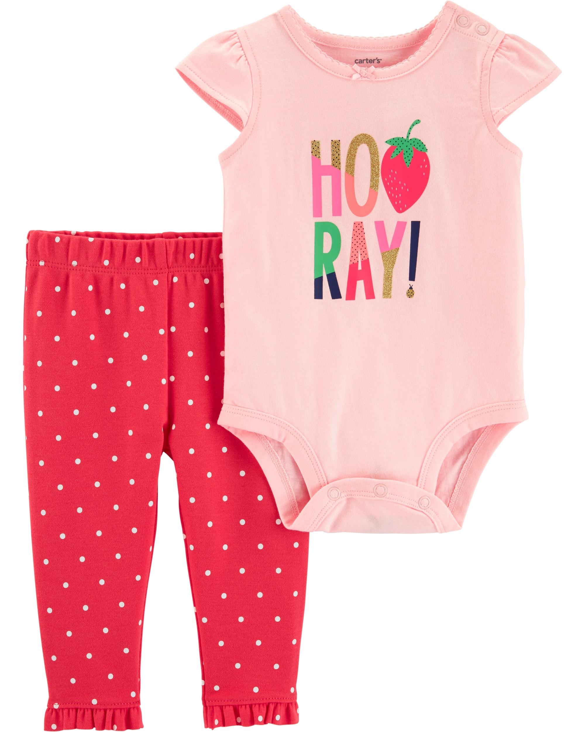 Carter's Set 2 Piese Căpșunică body & pantaloni 100% bumbac