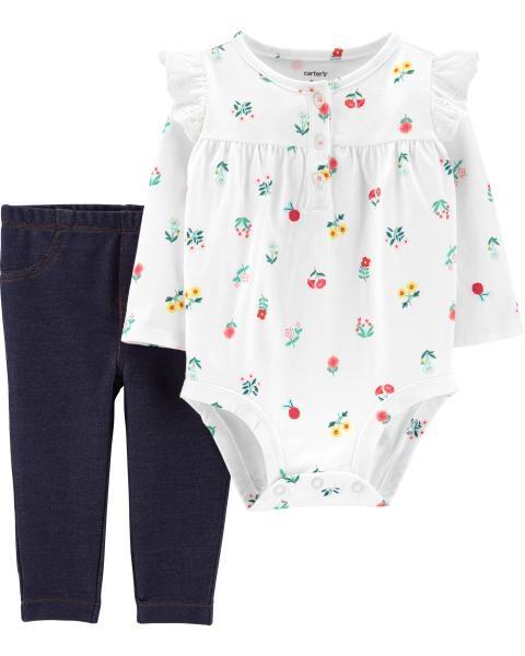 Carter's Set 2 piese pantaloni si body alb, cu flori
