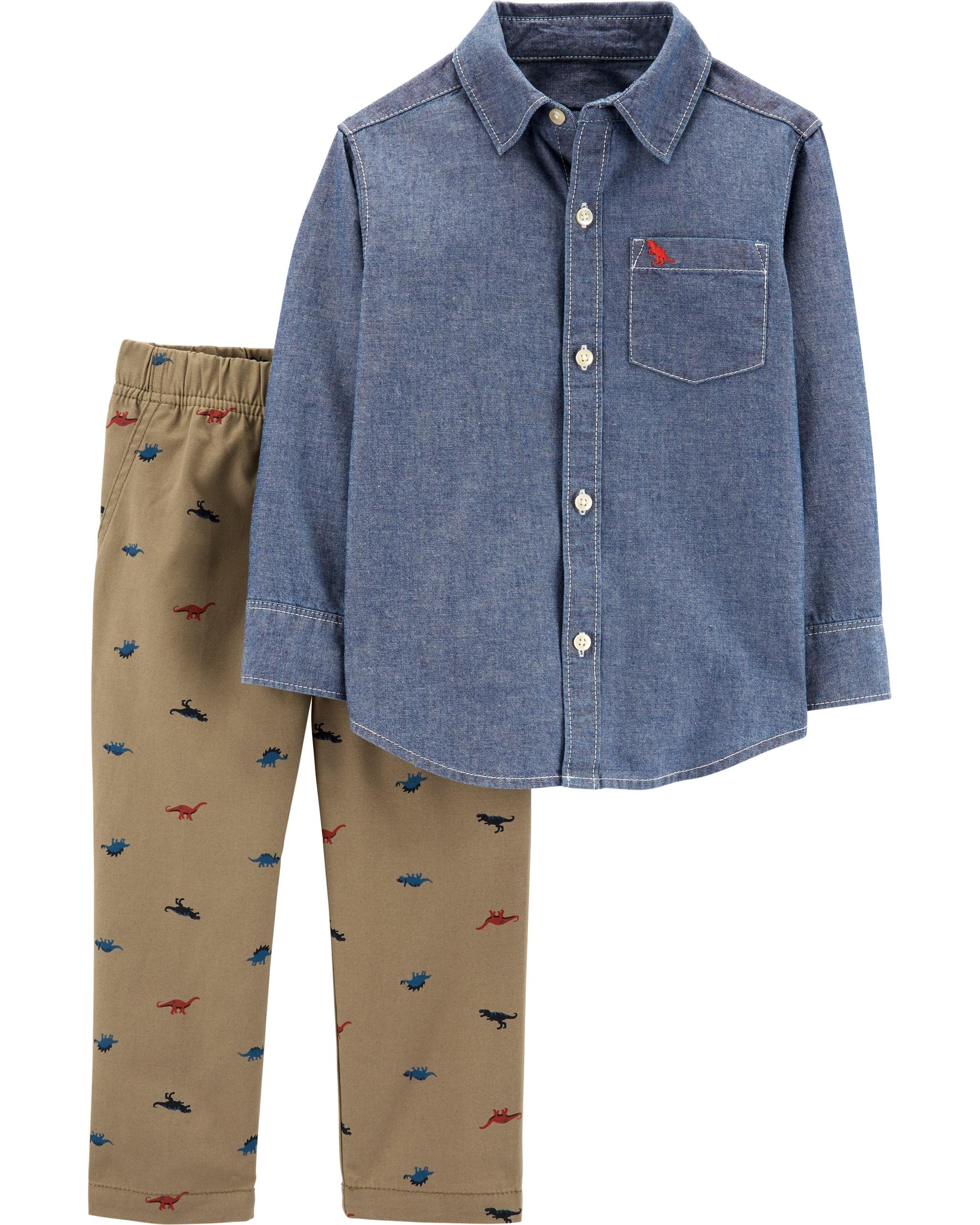 Carter's Set 2 Piese Elegante cămașă dinozaur & pantaloni 100% bumbac