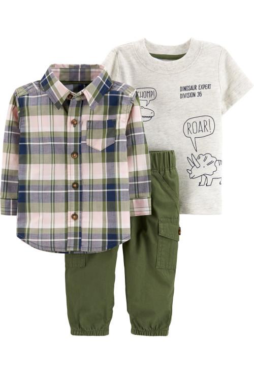 Carter's Set 3 Piese Dinozaur tricou, cămașă & pantaloni 100% bumbac