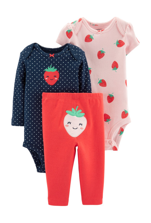Carter's Set 3 Piese Căpșunică body & pantaloni 100% bumbac