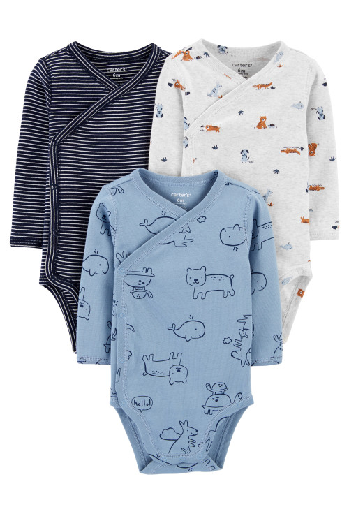 Carter's Set 3 Piese body bebe cu capse laterale Animale
