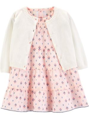 Carter's Set 2 Piese Elegant rochiță & cardigan 100% bumbac