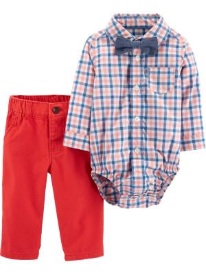Carter's Set 3 Piese Carouri pantaloni, body tip cămașă & papion 100% bumbac