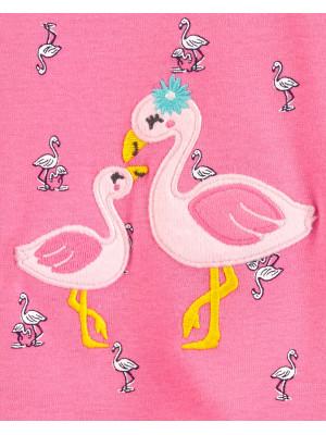 Carter's Salopetă cu capse și flamingo