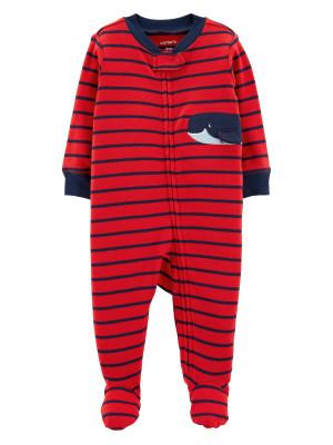 Carter's Pijama roșie cu dungi și balenă 100% bumbac