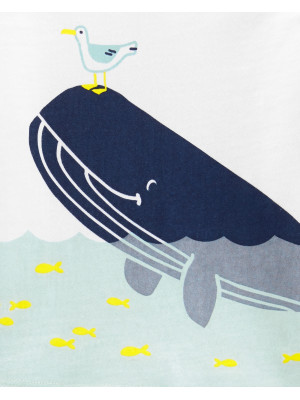Carter's Set 2 Piese Balenă pantaloni scurți cu dungi & tricou 100% bumbac