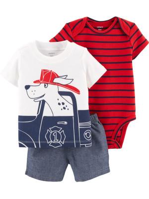 Carter's Set 3 Piese Pompier body, tricou & pantaloni 100% bumbac