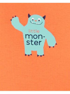 Carter's Set 5 body bebelus Micul monstru masini, dungi