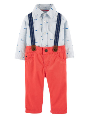 Carter's Set 3 Piese pantaloni, body tip cămașă si bretele