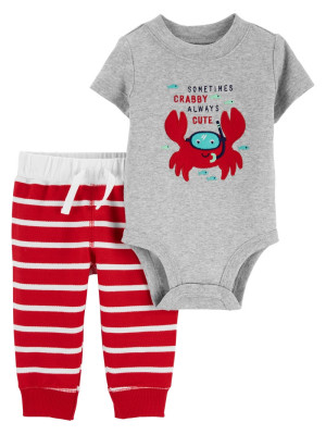 Carter's Set 2 piese pantaloni si body Crab