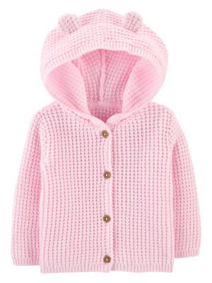 Carter's Cardigan bebe cu nasturi și glugă cu urechiușe roz