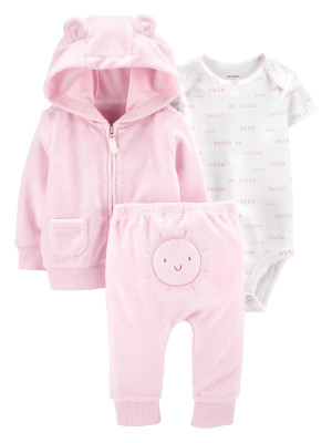Carter's Set 3 piese bebelus hanorac pantaloni si body Soare