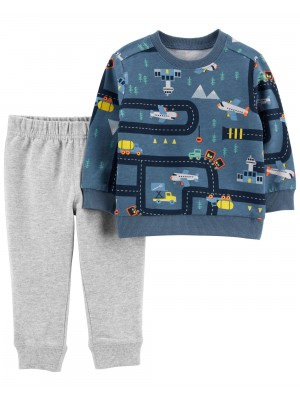 Carter's Set 2 piese bluza si pantaloni Avion