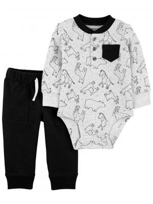 Carter's Set 2 piese bebelus pantaloni si body Urs