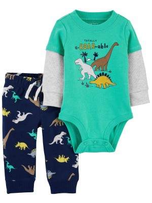 Carter's Set 2 piese bebelus pantaloni si body Dinozauri