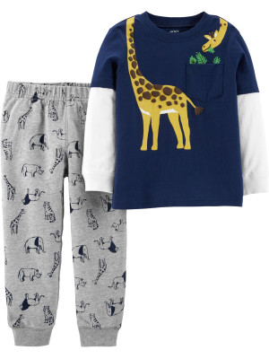 Carter's Set 2 Piese Girafă bluză & pantaloni 100% bumbac
