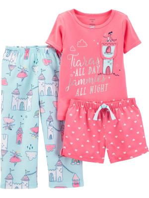 Carter's Set 3 Piese pijama tricou, pantaloni lungi si scurti Printesa