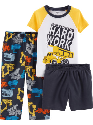 Carter's Set 3 Piese pijama tricou, pantaloni lungi & scurți Construcții