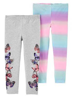 Carter's Set 2 piese pantaloni cu fluturi si multicolori