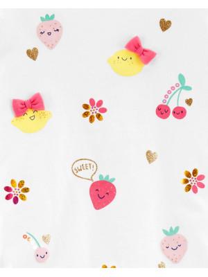 Carter's Tricou cu fructe si volănașe la umeri