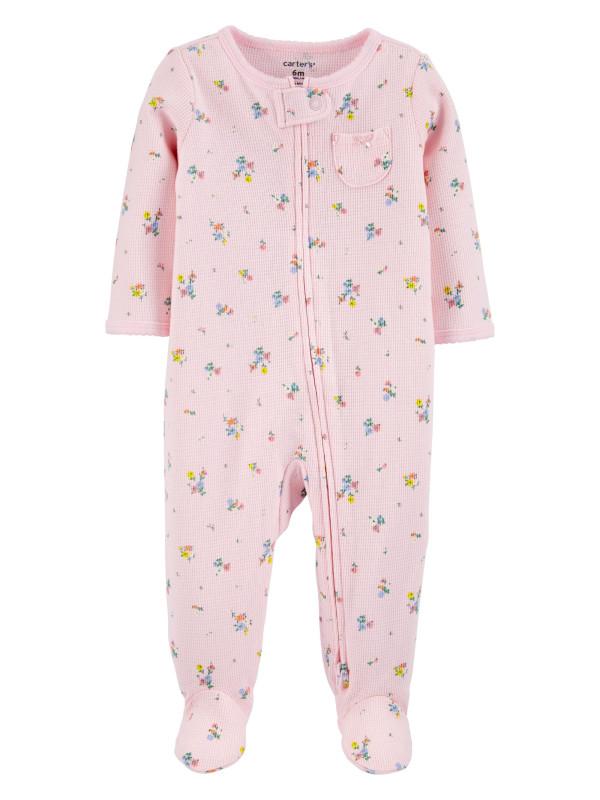 Carter's Pijama roz cu fermoar reversibil bebe Flori