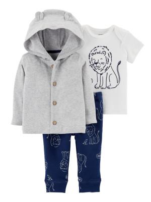 Carter's Set 3 Piese Leu hanorac, tricou & pantaloni