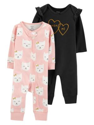 Carter's Set 2 Piese Pijamale cu pisici și inimioare 100% bumbac