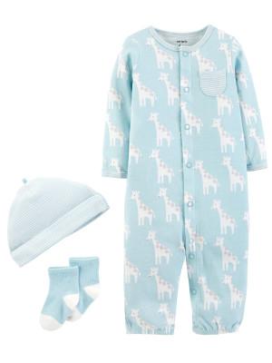 """Carter's Set 3 Piese """"Du-mă acasă"""" Pijama, căciulă & șosete 100% bumbac"""