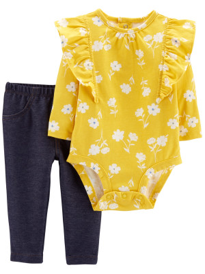 Carter's Set 2 Piese Floral body & pantaloni lungi