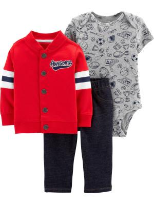 Carter's Set 3 Piese Baseball hanorac, body & pantaloni 100% bumbac