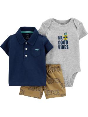 Carter's Set 3 Piese Vibes tricou tip polo, pantaloni scurți & body 100% bumbac