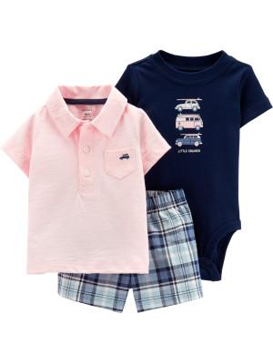 Carter's Set 3 Piese Mașinuțe tricou tip polo, body & pantaloni scurți 100% bumbac