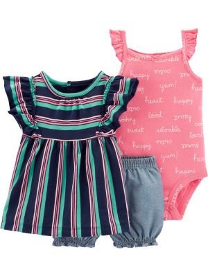 Carter's Set 3 Piese Sweet bluză, pantaloni scurți & body