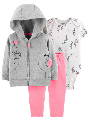 Carter's Set 3 Piese Flamingo hanorac, body & pantaloni