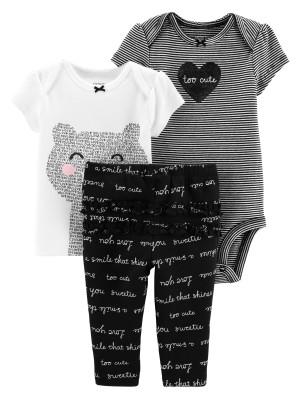 Carter's Set 3 Piese Adorabil body, tricou & pantaloni 100% bumbac