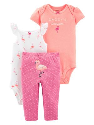 Carter's Set 3 Piese Flamingo pantaloni lungi & body