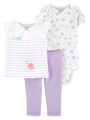 Carter's Set 3 Piese Meduză pantaloni lungi, tricou & body 100 % bumbac
