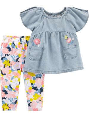 Carter's Set 2 Piese Floral pantaloni & tricou
