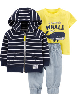 Carter's Set 3 Piese Balenă hanorac, tricou & pantaloni 100% bumbac