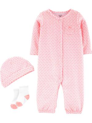 Carter's Set 3 Piese Pijama, căciulă & șosete cu inimioare 100% bumbac