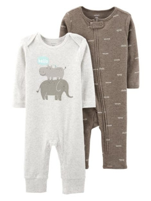 Carter's Set 2 piese pijamale Hipopotam si elefant