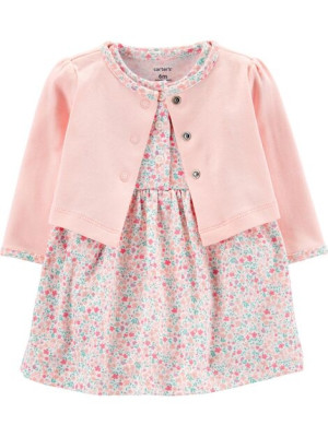 Carter's Set 2 piese Floral, cardigan si rochita
