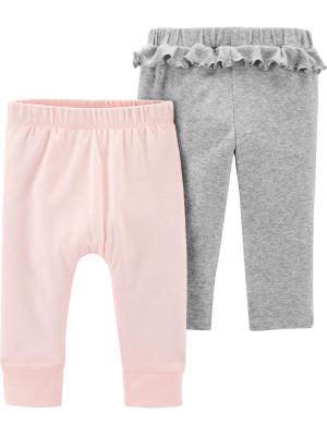 Carter's Set 2 piese pantaloni roz-gri