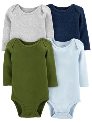 Carter's Set 4 piese body bebe uni, multicolore