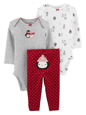 Carter's Set 3 Piese bebe 2 body si pantaloni Pinguin