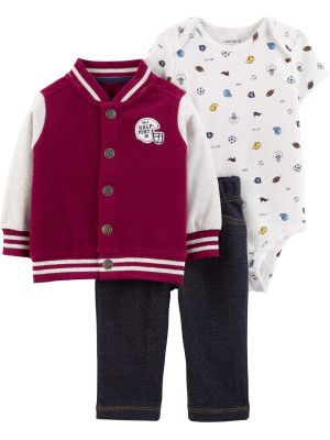 Carter's Set 3 Piese Varsity hanorac, body & pantaloni